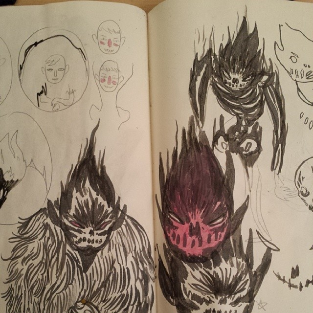 More sketches for an unnamed guy made of black flames.